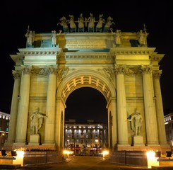 Narva Triumphal Arch at night in Saint Petersburg, Russia