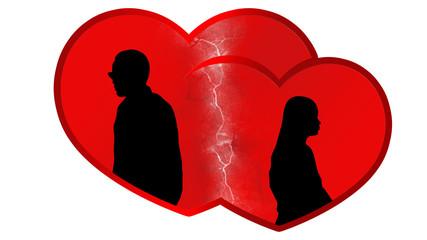 Rotes Herz - Frau und Mann - Scheidung Trennlinie - 16zu9 g3337