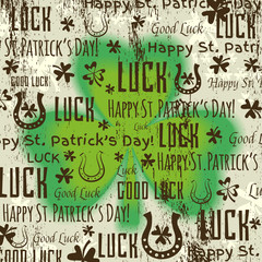 grunge background for Patricks day with shamrock, vector