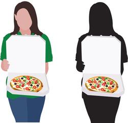 ragazza con  pizza