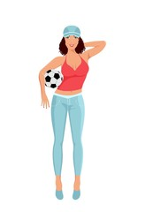 active girl with ball isolated