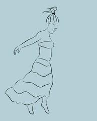 beautiful girl in skirt, sketch
