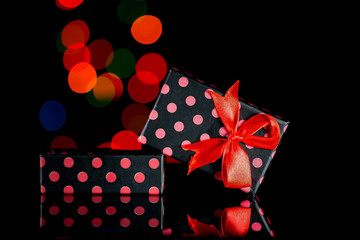 Gift boxes with polka dots