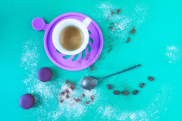 Coffee And Violet Macarons