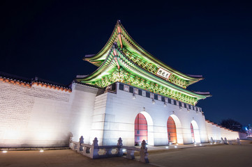 Geyongbokgung Palace at night in Seoul, South Korea.