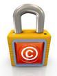 3d copyright padlock
