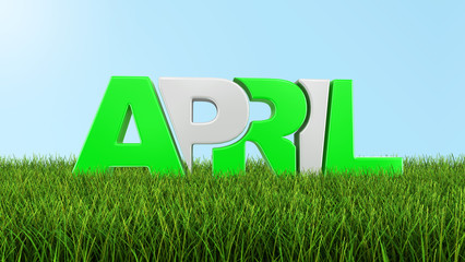 April on grass  (clipping path included)