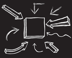 Vector Chalk Arrows. Hand drawn vector illustration.