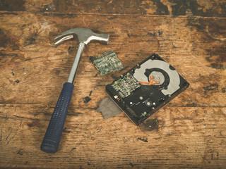 Hammer and smashed harddrive
