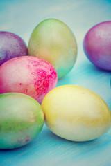 Osterkarte - bunte Ostereier - pastell