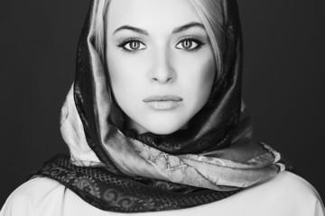 monochrome Beautiful blond woman in scarf.Beauty Girl