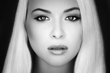 Beautiful Face of Young Woman.Blond girl.Art monochrome portrait