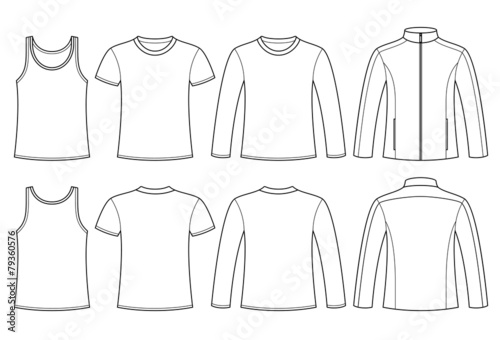Singlet, T-shirt, Long-sleeved T-shirt and Jacket template - 79360576