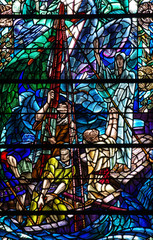 Jesus Christ calming the storm (stained glass)