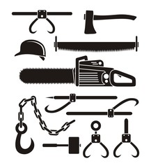 lumberjack tools - pictogram