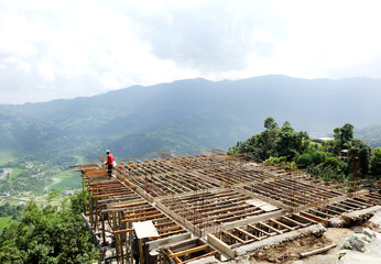 Construction of house in Pokhara valley