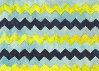Watercolor background with zigzag stripes