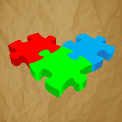 RGB PUZZLE 3D vector on crumpled paper brown background