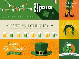 Happy St Patricks day banner illustration