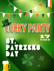 St Patricks day party poster illustration