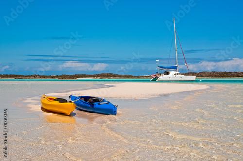 Fotobehang Caraïben Kayaks and Catamaran