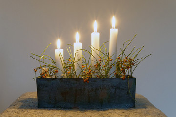 Advent Candle stick holder with four candles