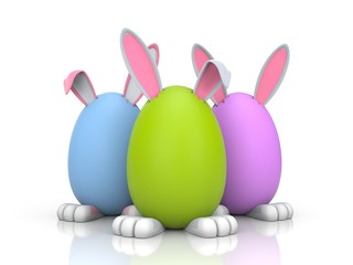 Group of rabbits in the colored eggs