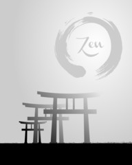 Zen circle and Japan scenery illustration