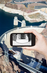 photo of above view of of Hoover Dam, Nevada