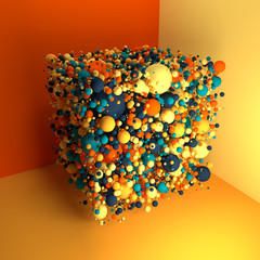 Imaginary 3d cube of the many balls that do not intersect.