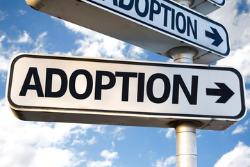 Adoption direction sign on sky background