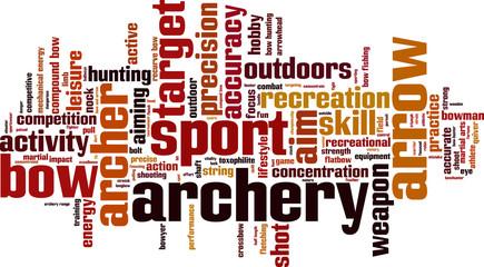 Archery word cloud concept. Vector illustration