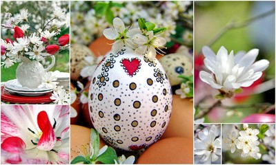 Collage Ostern in rot