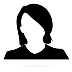 Black girl stencil on a white background. Vector. 1
