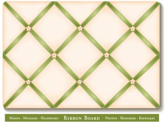 French Ribbon Bulletin Board for photos, fabric headboard, DIY