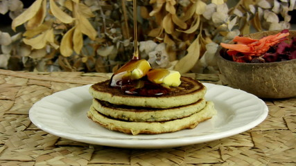 Pancakes With Dripping Maple Syrup