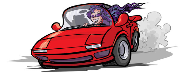 Cartoon girl in a sport car.