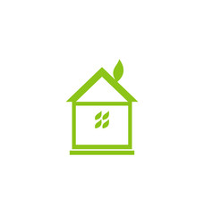 Icon eco house with leaf isolated on white background