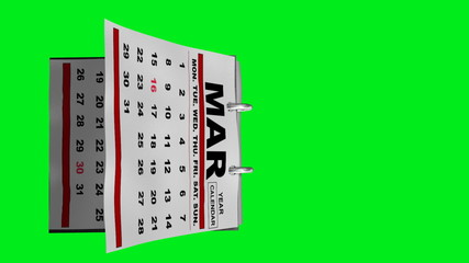 Year Calendar Flipping Pages Animation