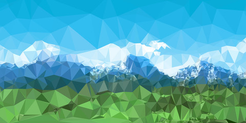 Mountain landscape background with low poly design