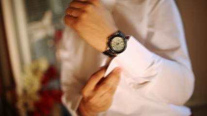 groom dress shirt and watches