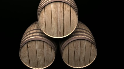 footage of barrels in a cellar with black background