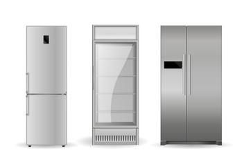 Refrigerators: silver, with two doors and glass door