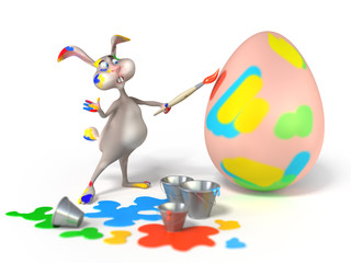 Funny cartoon Easter bunny  as artist painting on a egg.