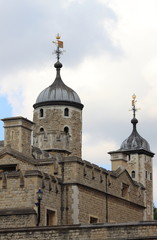 Domes of the stone fortress of the Tower of London, UK