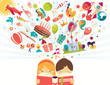 Imagination concept, boy and girl reading a book objects flying - 79369159