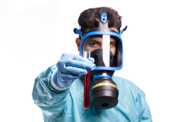 Scientist holding a sample of blood, isolated on white backgroun