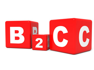 B2C cubes on white background. 3D illustration.