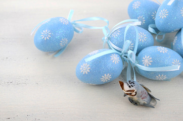 Easter blue and white theme eggs