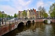 Amsterdam view of the canals and bridges, Netherlands